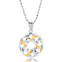 Necklace & Pendants - silver golden round sterling jewelry pendant necklace Image.