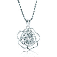 Sterling Silver Jewelry - beautiful flower sterling silver jewelry pendant necklace Image.