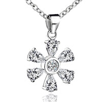 Necklace & Pendants - sterling silver april birthstone flower crystal pendant necklace Image.