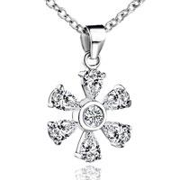 Necklace & Pendants - sterling silver april birthstone flower crystal pendant necklace Image.