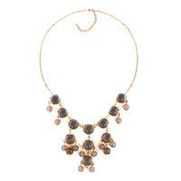 Necklaces - statement necklace brown semi precious stone dangle pendant bubble necklace  18'' Image.