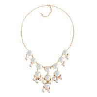 Necklaces - statement necklace clear white semi precious stone dangle pendant  18'' Image.