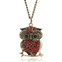 Necklace & Pendants - 18 k gold topaz yellow crystal vintage owl pendant necklace Image.