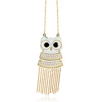 Necklace & Pendants - 18 k gold plated black crystal dangle owl pendant necklace Image.