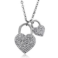 Necklace & Pendants - women' s double love heart lock crystal pendant necklace with chain earrings Image.