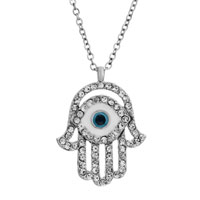 Necklace & Pendants - hamsa hand hamsa evil eye with blue crystal cz pendant necklace earrings Image.