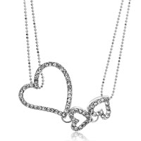 Necklace & Pendants - triple love hollow heart clear crystal pendant necklace for women Image.