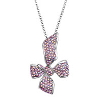 Necklace & Pendants - bowknot with pink crystal cz love pendant necklace for women earrings Image.