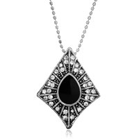 Necklace & Pendants - vintage hot black stone rhombus clear crystal cz necklace pendant earrings Image.