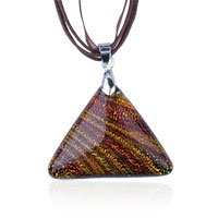 Necklace & Pendants - tan triangular dichroic glass pendant necklace Image.