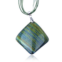 Necklace & Pendants - green stripe dichroic glass pendant necklace Image.