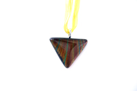Murano Glass Jewelry - brown yellow striped triangle dichroic glass pendant necklace for women Image.