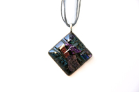 Murano Glass Jewelry - black square pattern dichroic glass pendant necklace for women Image.