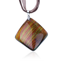 Necklace & Pendants - tan fused dichroic glass pendant necklace Image.