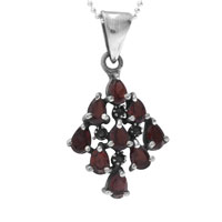Necklace & Pendants - ruby red cz diamond shape pendant necklace sterling silver pendant Image.