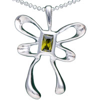 Sterling Silver - 925  sterling silver crystal bowknot pendant necklace sterling silver pendant Image.