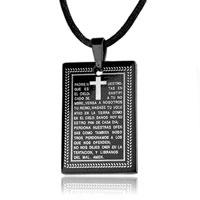 Necklace & Pendants - cross necklaces rectangle black bible celtic cross pendant necklace Image.