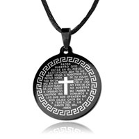 Necklace & Pendants - cross round prayer black celtic cross symbol medallion necklace pendant Image.