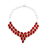 Necklace & Pendants - light red gothic vintage water drop oval crystal encrusted two tone toggle clasp pendant necklace Image.