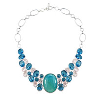Necklaces - hot fashion chunky bubble statement bib turquoise topaz necklace pendant Image.