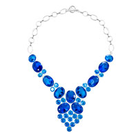 Necklace & Pendants - statement necklace chunky bubble aquamarine blue water drop pendant Image.