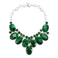 Necklace & Pendants - retro chunky bubble bib emerald green water drop statement necklace pendant Image.