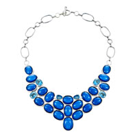 Necklace & Pendants - statement necklace chunky bubble sapphire blue bib statement water drop necklace fashion jewelry for women pendant Image.