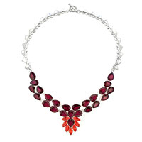 Necklaces - statement necklace chunky bubble garnet red teardrop bib pendant Image.
