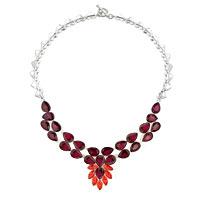 Necklace & Pendants - statement necklace chunky bubble garnet red teardrop bib pendant Image.