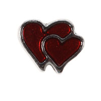 Floating Charms - garnet red double heart floating charms for living memory lockets Image.