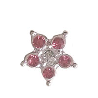 Floating Charms - flower with pink clear crystal floating charms for memory lockets Image.
