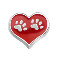 Floating Charms - footprints red heart love for living memory glass lockets Image.