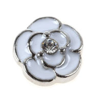 Floating Charms - floating charms white flower clear crystal for living memory locket Image.