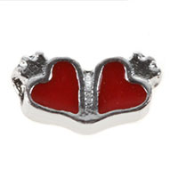Floating Charms - floating charms double red heart love for living memory lockets Image.