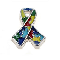 Floating Charms - autism awareness ribbon floating charms for living memory lockets Image.