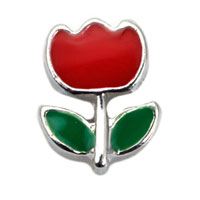 Floating Charms - red rose flower floating charms for living memory lockets Image.