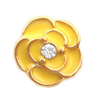 Charms Beads - yellow flower clear crystal floating for living memory locket beads charms bracelets fit all brands Image.
