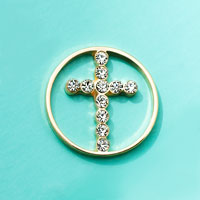 Floating Charms - religious faith crystal pave golden cross window plate love mom gift Image.