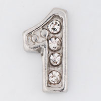 Floating Charms - clear crystal cz number 1  floating charms for living memory locket Image.