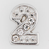 Floating Charms - clear crystal cz number 2  floating charms for living memory locket Image.