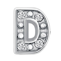 KSEB SHEB Items - silver d initial crystal cz floating charms for living memory locket Image.