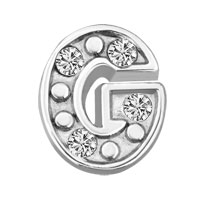 Floating Charms - silver g initial crystal cz floating charms for living memory locket Image.