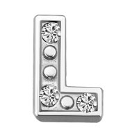 Floating Charms - silver l initial crystal cz floating charms for living memory locket Image.