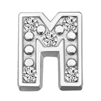 Floating Charms - silver m initial crystal cz floating charms for living memory locket Image.