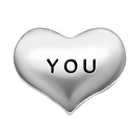Floating Charms - silver/ p heart love you floating charms for living memory locket Image.