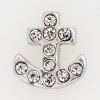 Theme Jewelry - clear crystal cz anchor floating charms for living memory locket Image.