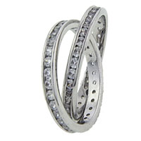Rings - fashion criss cross size 8  double band clear cz crystal silver tone ring Image.