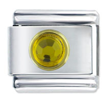 Italian Charms - november topaz birthstone circle rhinestone italian charms bracelet link Image.