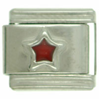 Italian Charms - silver star red celestial italian charms Image.