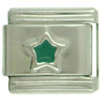 Italian Charms - silver star green celestial italian charm Image.